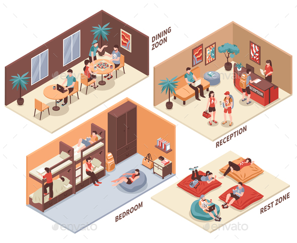 Hostel Rooms Isometric Set - Buildings Objects