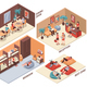 Hostel Rooms Isometric Set
