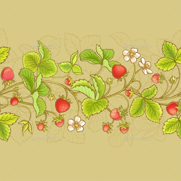Strawberry  Vector Seamless Pattern - Food Objects