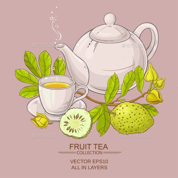 Soursop Tea Vector Illustration - Food Objects