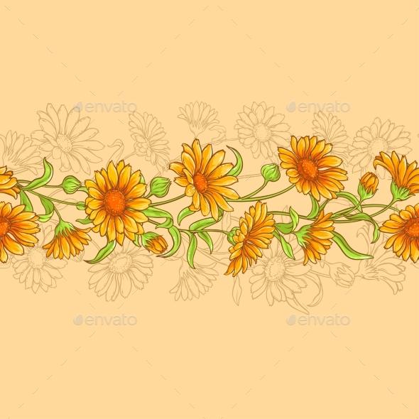 Calendula Vector Seamless Pattern - Flowers & Plants Nature