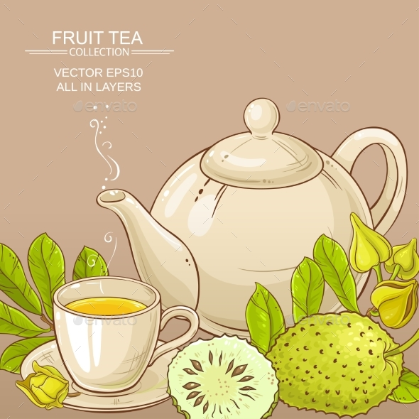 Soursop Tea Vector Background - Food Objects