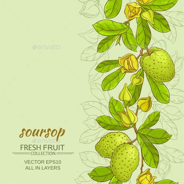 Soursop Vector Background - Food Objects
