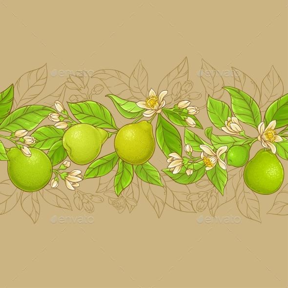 Bergamot Vector Horizontal Pattern - Food Objects