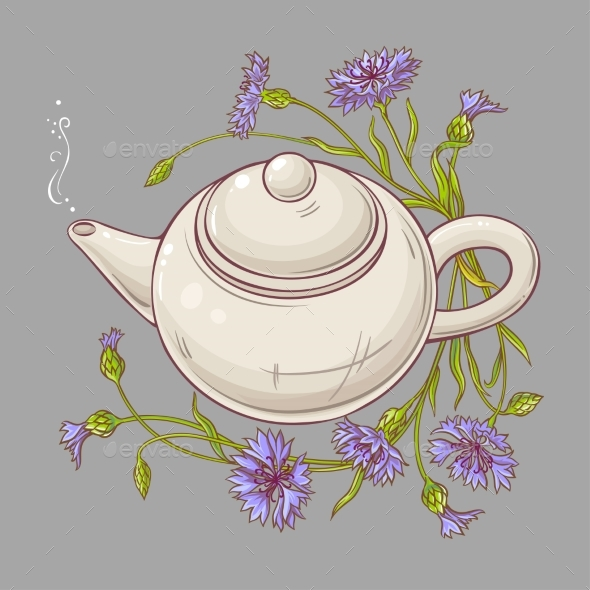 Cornflower Tea Illustration - Health/Medicine Conceptual