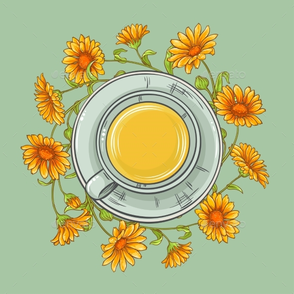 Cup of Calendula Tea - Food Objects