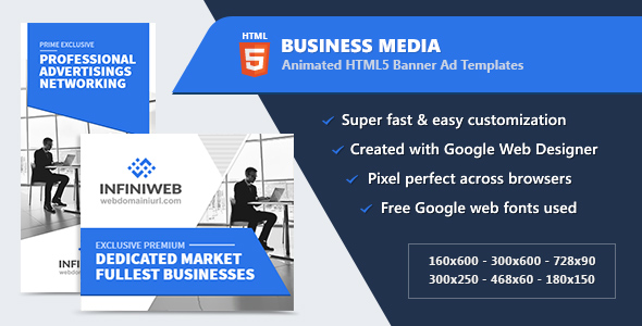 HTML5 Animated Banner Ads - Business Media (GWD) - CodeCanyon Item for Sale