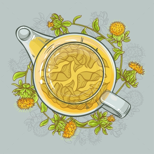 Safflower Tea Vector Illustration - Food Objects