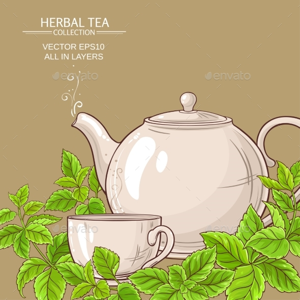 Melissa Tea Vector Background - Food Objects