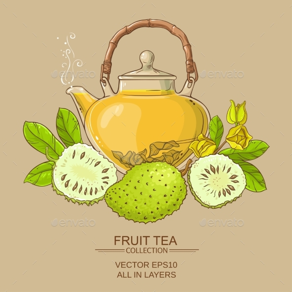 Soursop Tea Vector Illstraton - Food Objects