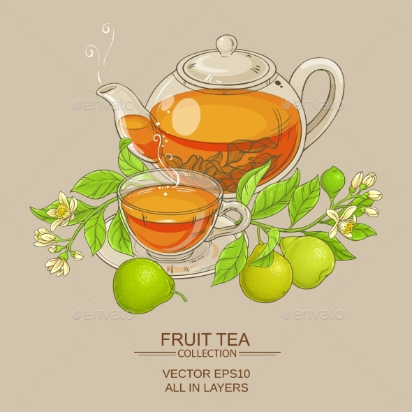Bergamot Tea Vector Illustration - Food Objects