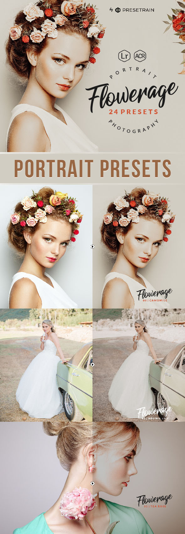 Flowerage Portrait Presets for Lightroom & ACR - Lightroom Presets Add-ons