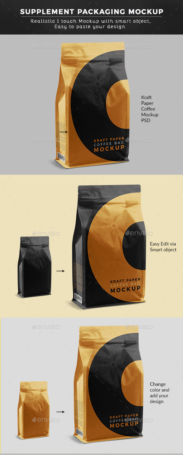 Kraft Paper Coffee Bag Mock up - Food and Drink Packaging