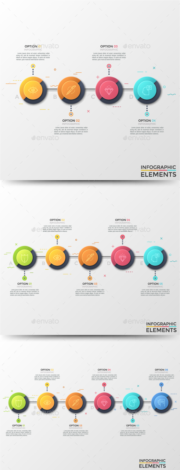 Circular Infographic Timelines (3 Items) - Infographics