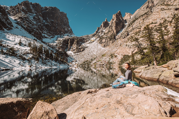 Tourist near Emerald Lake in Colorado - Stock Photo - Images