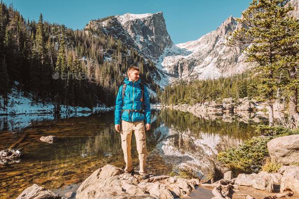 Tourist near Dream Lake in Colorado - Stock Photo - Images