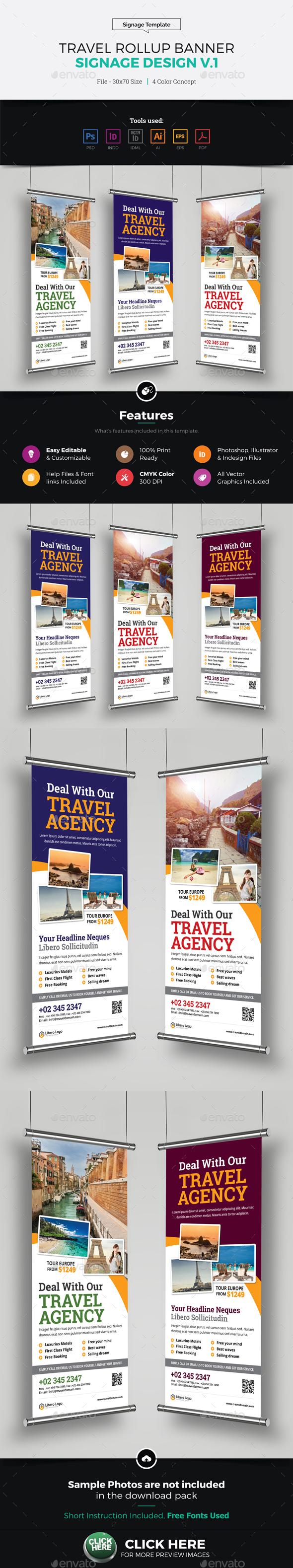 Travel Rollup Banner Signage Design v1 - Signage Print Templates