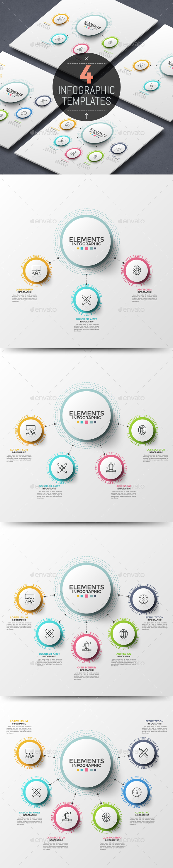 4 Abstract Thin Line Infographic Templates - Infographics