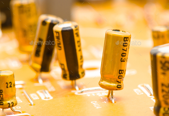 electrical capacitors motherboard - Stock Photo - Images
