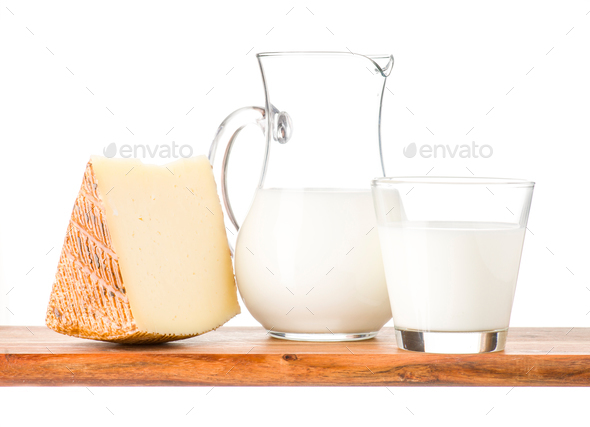 cheese and milk on wood - Stock Photo - Images