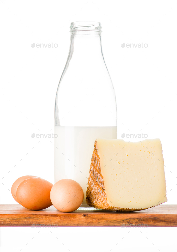 cheese eggs and milk on wood - Stock Photo - Images