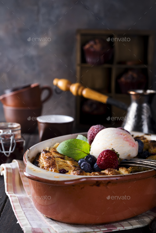 Berry Tart. Delicious cberry tart with ice cream, frozen strawberry and blueberries - Stock Photo - Images