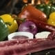 Raw Meat with Fresh Vegetables on Stone Surface - VideoHive Item for Sale