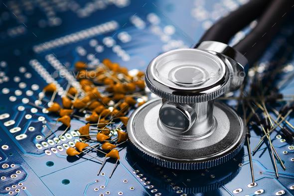 Medical stethoscope and electronics - Stock Photo - Images