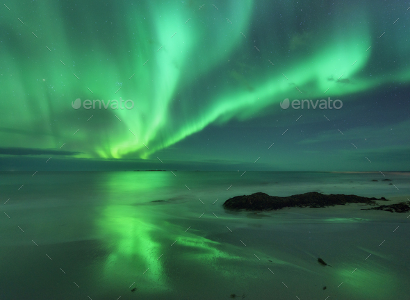 Aurora on the sea. Northern lights in Lofoten - Stock Photo - Images