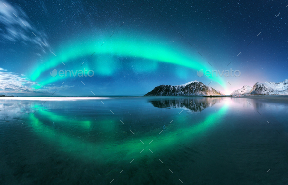 Aurora. Nothern lights in Lofoten islands, Norway - Stock Photo - Images