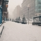 Snowfall View of the Sidewalk and the Road Snowy London - VideoHive Item for Sale