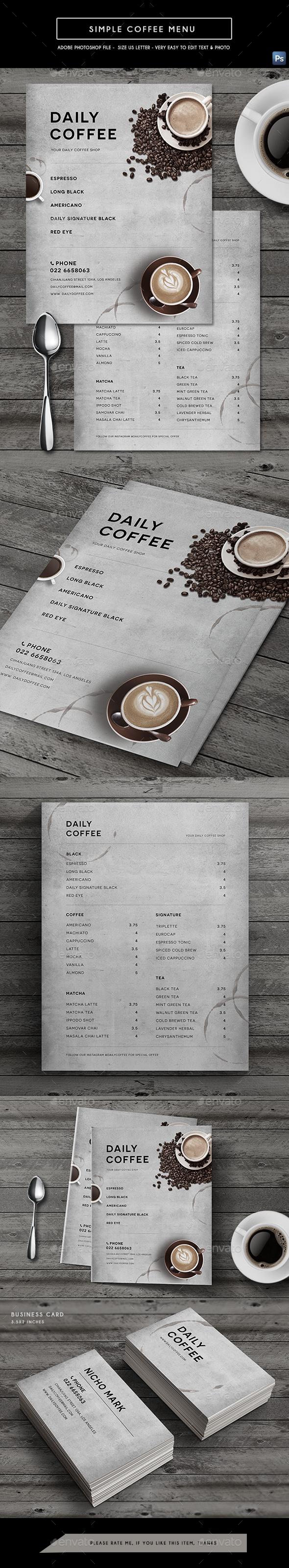 Simple Coffee Menu - Food Menus Print Templates