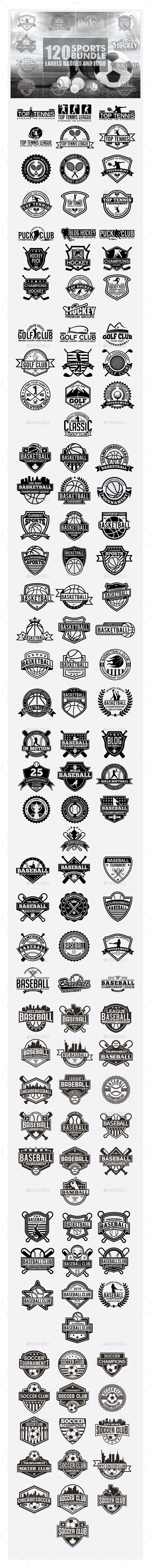 120 Sports Badges and Logo Bundle - Badges & Stickers Web Elements