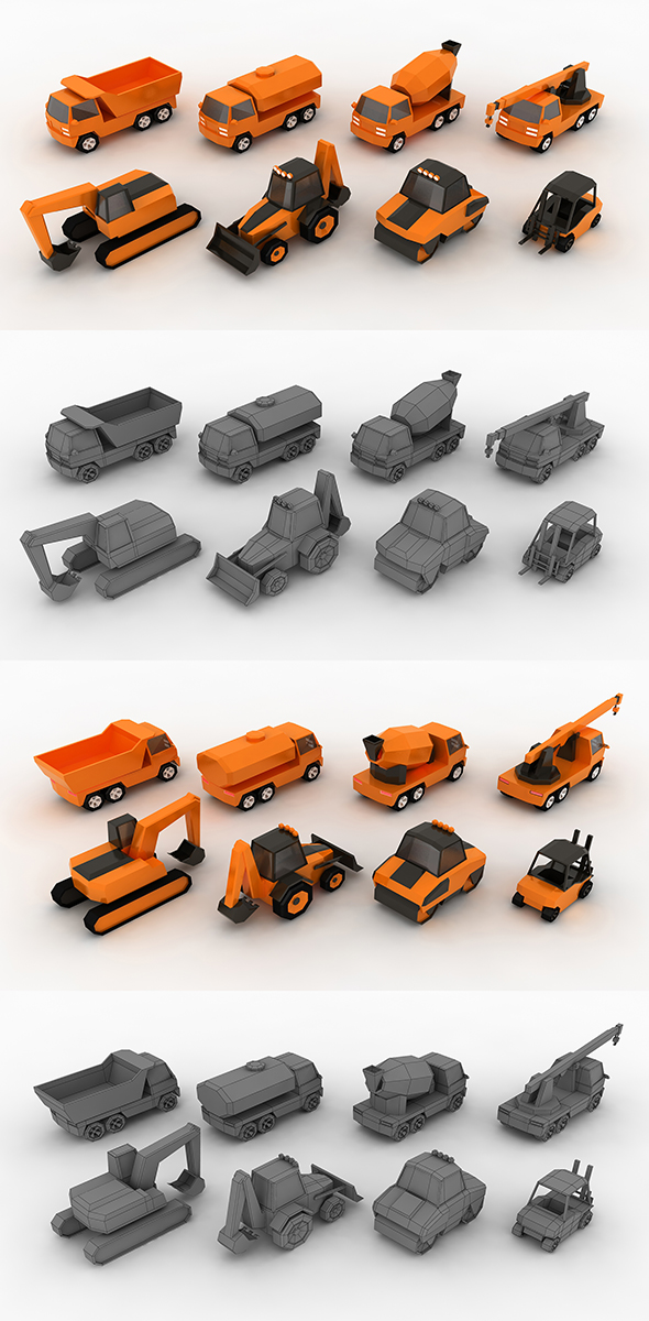 Low-poly Construction machinery - 3DOcean Item for Sale