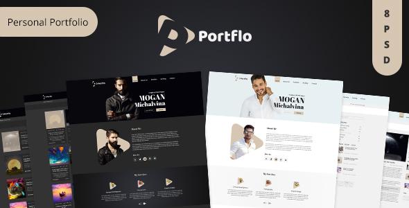 portflo personal portfolio psd template free downloads oracle based