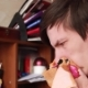 Young Guy Has a Runny Nose, Wipes His Nose with a Handkerchief, Sneezes Into His Handkerchief - VideoHive Item for Sale