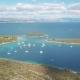 Aerial View of Cozy Mediterranean Island. Blue Lagoon, Island Paradise. Adriatic Sea of Croatia - VideoHive Item for Sale