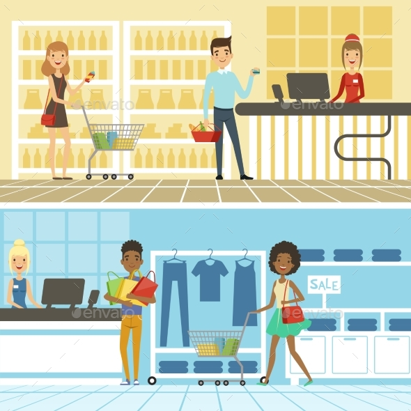 Groups of People Shopping - Miscellaneous Vectors