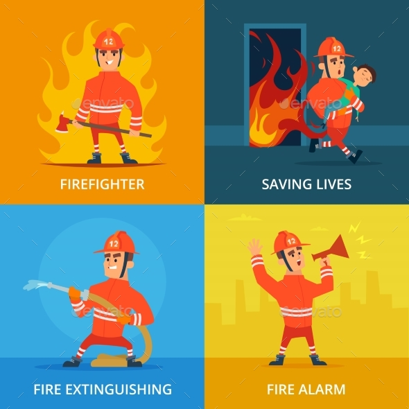 Conceptual Pictures of Firefighter and Work - People Characters