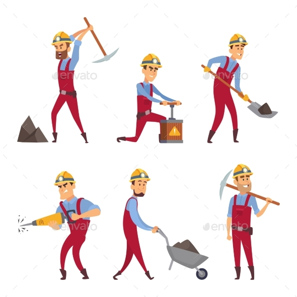 Characters Set of Miners. Cartoon Characters - People Characters