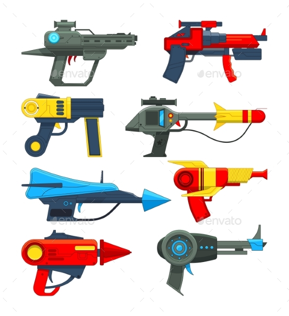 Space Weapons in Cartoon Style - Objects Vectors