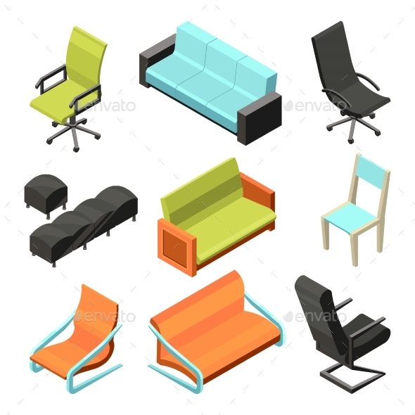Different Office Chairs. Isometric Illustrations by ONYXprj ...