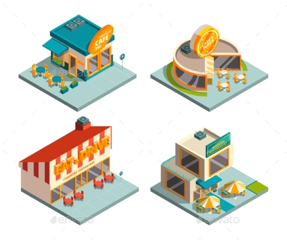 City Cafe Buildings. Isometric Pictures - Buildings Objects