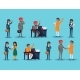 Icons Set with Ethnic Businesspeople