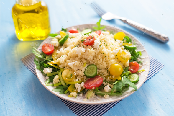 Healty salad with couscous  and vegetables - Stock Photo - Images