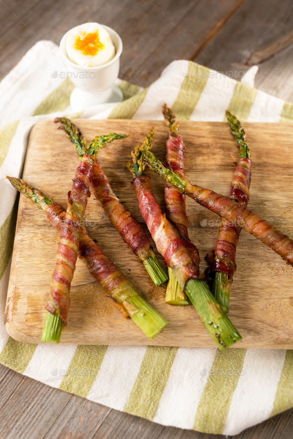 Grilled Asparagus Wrapped in Bacon - Stock Photo - Images