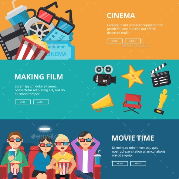 Horizontal Banners at Cinema Theme. - Objects Vectors