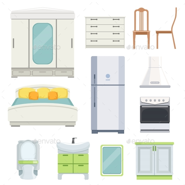Modern Furniture for Bedroom, Kitchen and Living - Objects Vectors