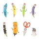 Cartoon Characters of Different Drawing Tools - GraphicRiver Item for Sale