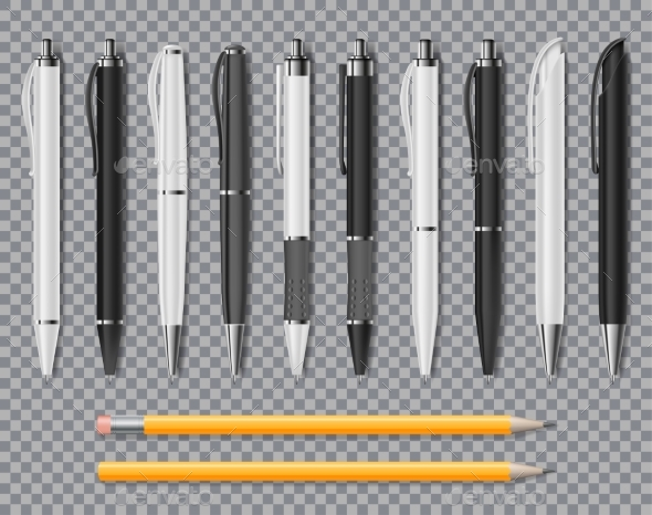 Set of Realistic Office Elegant Pens and Pencil - Miscellaneous Vectors
